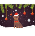 christmas banner template with dog balls ribbons vector image vector image