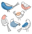 collection cute hand drawn doodle birds vector image vector image