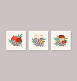 collection square greeting cards with shana vector image