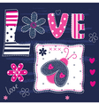 Cute kid background with ladybug and letters vector image vector image