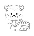 cute monkey with gift box and sweet cake vector image vector image