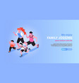 family jogging isometric banner vector image vector image