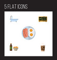 flat icon lifestyle set of cappuccino tub beer vector image vector image