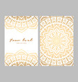 greeting card golden ethnic patterns on white vector image vector image