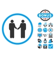 Handshake Flat Icon with Bonus vector image