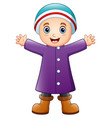 happy boy in purple winter clothes vector image vector image