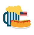 hot dog and beer flag american food celebration vector image vector image