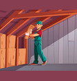 house thermal insulation works cartoon vector image