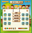 internatinal children game template vector image vector image