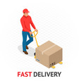 isomeric fast delivery concept delivery man in vector image vector image
