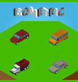 Isometric automobile set of car autobus auto and