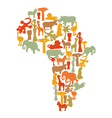 Map of Africa with african symbols vector image vector image