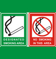 no smoking and smoking area sign set vector image vector image