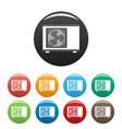 outdoor conditioner fan icons set color vector image vector image