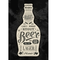 Poster bottle of beer with hand drawn lettering vector image vector image