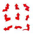 red paper arrow on white background vector image vector image