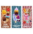 Retro style ice cream smoothie and yogurt banners vector image vector image