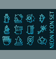 set black magic glowing neon icons vector image