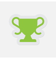 simple green icon - sports cup vector image