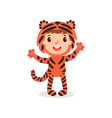 toddler kid in colorful tiger costume child in vector image vector image