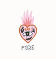 vintage burning heart vector image