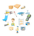 warehouse logistic storage icons set cartoon style vector image