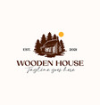 wooden house pine tree logo template isolated vector image vector image