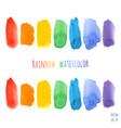 set of raindow watercolor brush strokes vector image
