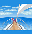 a person restsing on yacht tropical paradise vector image