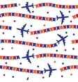Airplane with colorful flags seamless pattern vector image vector image