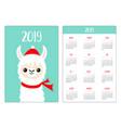 alpaca llama face red hat scarf pocket calendar vector image