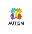 autism awareness day logo design template vector image vector image