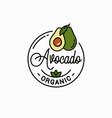 avocado fruit logo round linear slice vector image vector image