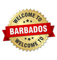 barbados 3d gold badge with red ribbon vector image vector image