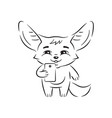 black and white cute fennec fox with smile who vector image
