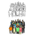 business people standing sketch vector image