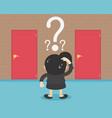 businesswoman choosing door red cartoon vector image