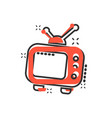 cartoon television monitor icon in comic style tv vector image vector image