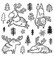 childish with deer moose elk in vector image