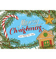christmas postcard with fir branch and toys vector image