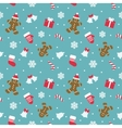 christmas seamless pattern with gingerbread man vector image vector image
