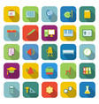 classroom color icons with long shadow vector image vector image
