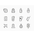 collection icons and linear on a white vector image