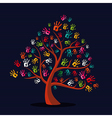 Colorful multi-ethnic hand prints tree vector image vector image