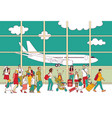 crowd travel people family airport and plane vector image vector image