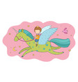 cute cartoon boy flies on a pegasus little prince vector image