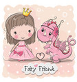 cute cartoon fairy tale princess and dragon vector image vector image