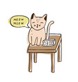 cute naughty cat sitting on bedside table near vector image vector image