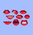 female red lips sexy woman mouth with smile kiss vector image