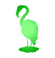 flamingo silhouette green abstraction vector image